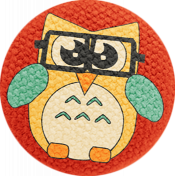 School Fun- Fabric Button- Owl 01