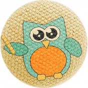 School Fun- Fabric Button- Owl 02