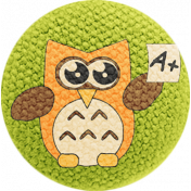 School Fun- Fabric Button- Owl 03