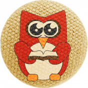 School Fun- Fabric Button- Owl 04