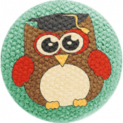 School Fun- Fabric Button- Owl 05