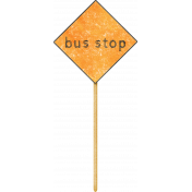School Fun- Word Art- Bus Stop Toothpick Sticker