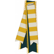 Pixel Scrapper Digital Element; yellow and white striped ribbon folded over and stapled