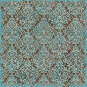 Damask 31 Paper- Brown & Blue