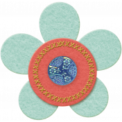Taiwan Felt Flower 01d- Blue & Peach
