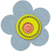 Taiwan Felt Flower 01f- Light Blue & Yellow Green