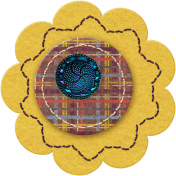 Taiwan Felt Flower 01h- Yellow & Plaid
