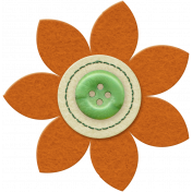 Taiwan Felt Flower 01j- Orange & Green