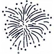 July Fourth- Firework Burst- Blue