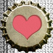Bottle Cap- Pink Heart