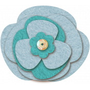 Vietnam Felt Flower 10a- Light Blue & Turquoise