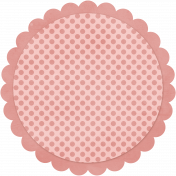Pink Polka Dot Circle Scalloped Mat