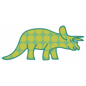 Dinosaurs Sticker- Triceratops- Green & Polka Dot