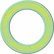Cambodia Chipboard Circle- Doughnut Blue & Yellow
