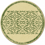 Cambodia Chipboard Circle- Green & Tan