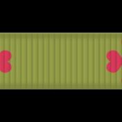 Thin Ribbon- Hearts- Green & Pink