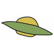 Outer Space Flying Saucer- Green Sticker