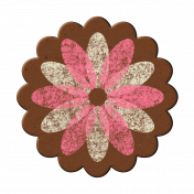 Pink/White Chipboard Flower