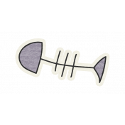 Kitty Kat- Fish Bones Sticker