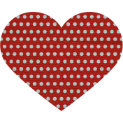 Argyle Buttons Heart- Red Polka Dot