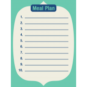 Thanksgiving Journal Card- Meal Plan