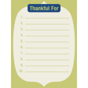 Thanksgiving Journal Card- Thankful For