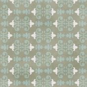 Damask Paper 2- Gray & Blue