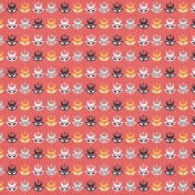 Floral 62 Paper- Coral & Navy