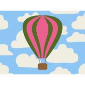 Hot Air Balloon- Balloon Journal Card- Pink & Green