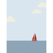 Cruising Journal Cards- Sailboat On Horizon