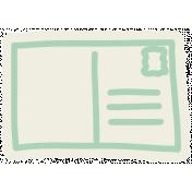 Road Trip- Teal Post Card Sticker