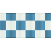 Fat Ribbon- Checked- Blue & White