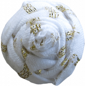 Garden Party Flower- Fabric 042 White & Gold