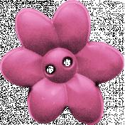 Garden Party Button- Pink Flower