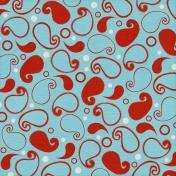 Paisley Paper 08- Aqua & Red