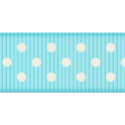 Medium Ribbon- Polka Dots 01- Aqua & White
