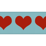 Fat Ribbon- Hearts 01- Aqua & Red