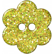 Yellow Flower Glitter Plastic Button