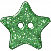 Green Glitter Star Plastic Button