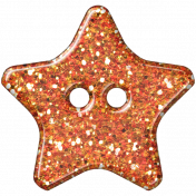Orange Glitter Star Plastic Button