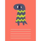 Kawaii Halloween Cards- Orange Monster Card