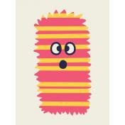 Kawaii Halloween Cards- Striped Fuzzy Monster Card