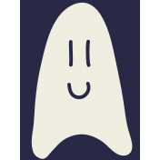 Kawaii Halloween Cards- Ghost On Blue