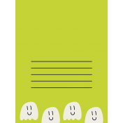 Kawaii Halloween Cards- Small Ghosts on Green