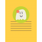 Kawaii Halloween Cards- Ghost With Flower