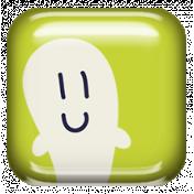 Kawaii Halloween Brad- Ghost Square