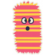 Kawaii Halloween Monster 002 Pink Stripes