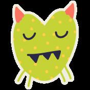 Kawaii Halloween Monster 005 Green Polka Dots