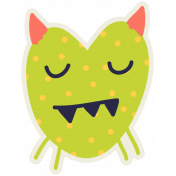 Kawaii Halloween Monster 005 Green Polka Dots