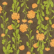 Floral Paper- Orange, Green, Brown